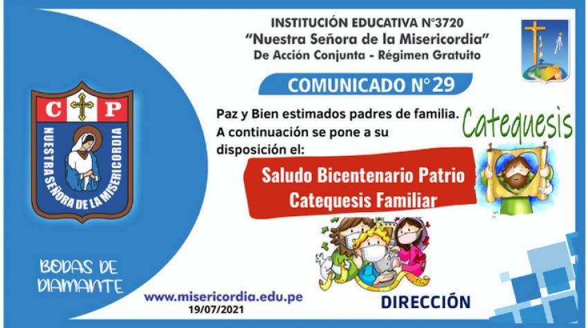 Saludo por Bicentenario y Catequesis