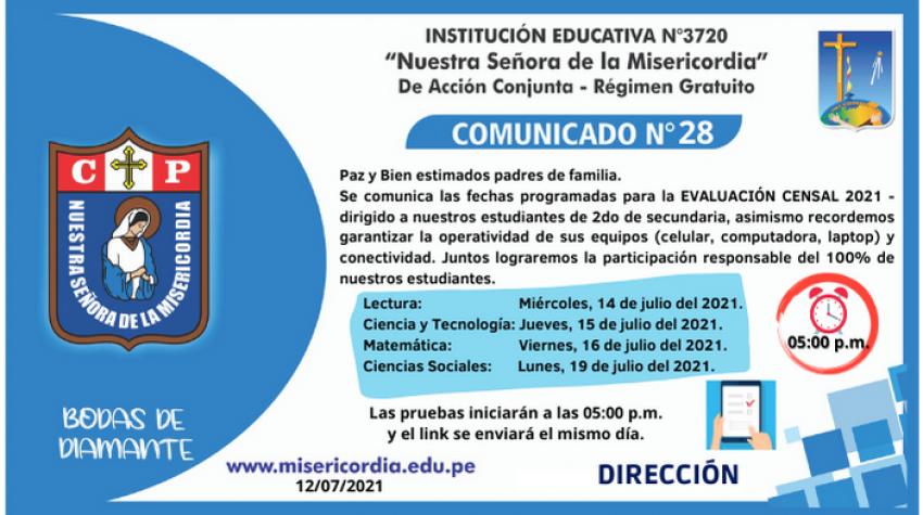 EVALUACIÓN CENSAL DE ESTUDIANTES 2do Secundaria